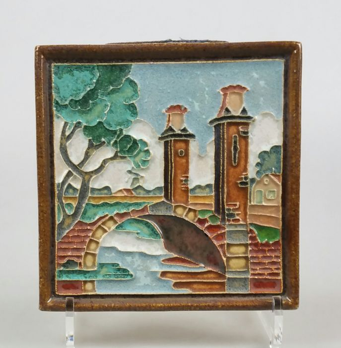 Porceleyne Fles - Cloisonné tile depicting 'Bruggetje bij Sion'