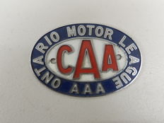 Original Vintage CAA Canadian Automobile Club Ontario Motor League Car Badge Auto Emblem