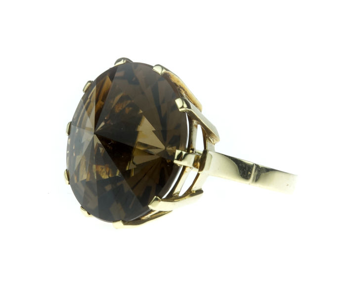 14 kt gold ring set with smoky topaz, large model, ring size 17.5