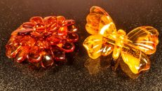 Two vintage brooches Flower and Butterfly made of 100% Natural Baltic Amber, 23 grams