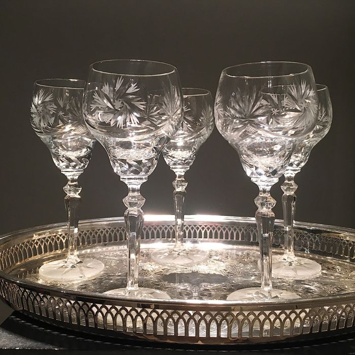 Mid century Bohemia Römer crystal wineglasses 19cm high,  5 pieces