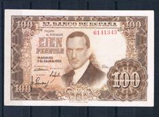 Spain - 100 pesetas from 1953 Without series - Pick 145