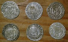 Hungary - Denar 1538/1549 (6 different) - silver