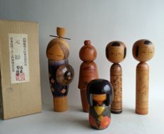 Manufacturer unknown - 5 wooden Japanese Kokeshi ningyô dolls