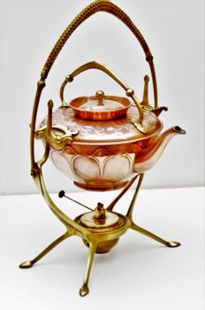 WMF - teapot and teapot-warmer in a holder Jugendstil