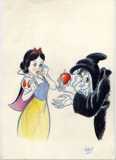 Vives Mateu, Xavier - Original inspirational Sketch - The Witch offers the apple to Snow White