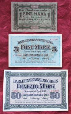 Germany - Occupation of Lithuania - 1, 5 and 50 mark 1918 - Pick R128, R130 and R132