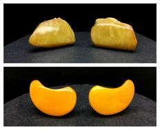 Vintage Baltic Amber earrings yellow beeswax colour & cuff links beeswax tiger colour 15.6 gr. (not pressed, not heated)