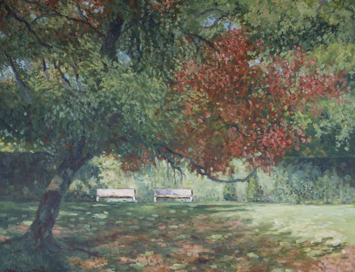 "Chris van Dijk  (1952)  -   ""two white benches in the park"""