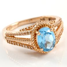 14k Rose Gold Ring 0.25 ct White Topaz  & 3.00 ct Blue Topaz - 7