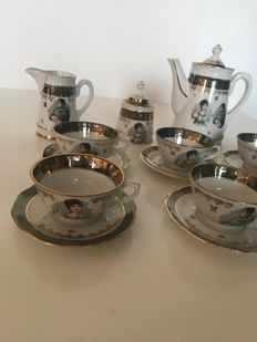 Complete coffee service in porcelain of Limoges France - effigy of Napoleon and Josephine
