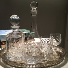 Vintage whisky decanter, cognac decanter, carafes bar set with 2 Bohemia glasses - mid century barware - 24% Blei Crystal 4 x
