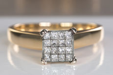 14k gold diamond ring with pave in resin  - Size: 59 - No Reserve price!