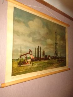 "Old school poster ""The oilfield of Schoonebeek"""