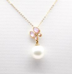 18kt yellow gold necklace (45cm) with  cowry and natural  fresh water pearl pendant