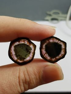 Beautiful Pair of Polished Tourmaline Slices - 34.4 Cts (2)