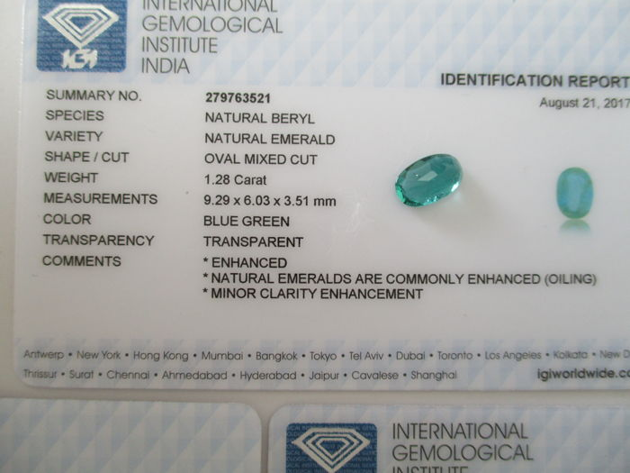 3 emeralds, 2.43 ct in total