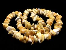 Old Natural Baltic Amber Necklace old white-yellow colour beads, 41.4 grams