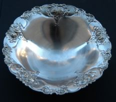 Antique Silver Plated Footed Bowl with Handmade Decoration, European, c. 1860