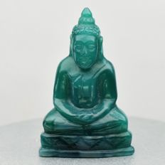 Buddha Carving Natural Green Chalcedony, Brazil - 21.5 x 14.2 x 8.3 mm - 11.20 ct