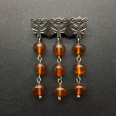 Antique Baltic Amber brooch, old butterscotch colour beads handmade 12 gr.