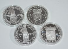 The Netherlands - Ducats 2003, 2004, 2005 and 2006, Beatrix (4 different coins) - silver