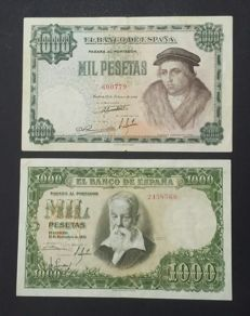 Spain - 2x 1,000 pesetas 1946 and 1951, NO SERIES - Pick 133 and Pick 143