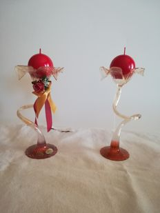 2x stylized Christmas candle holders