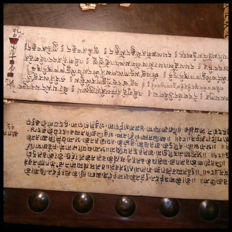 Tibet; Lot of 2 sheets with Buddhist manuscripts in folio - 18th century