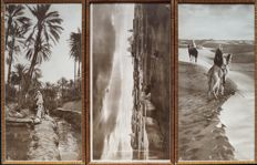 Rudolf Lehnert & Ernst Landrock (1878-1948) and (1878-1966) - Three views: Palm Grove / Desert / Tunisian village