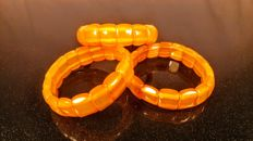 Vintage egg yolk/ butterscotch colour modified beads Baltic amber 3 bracelets, hole ca. 52 mm, 41 grams, ca.1970's