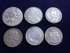 World - Lot various coins AH1203/AD1908 (6 different) - silver
