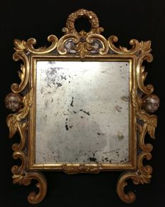 Venetian mirror in stone pine wood, gilded and silvered - Venice, Italy - 18th/19th century
