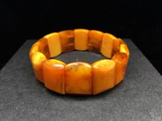Vintage old Baltic Amber bracelet butterscotch and egg yolk colour weight: 20 grams