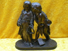 Bronze sculpture of Jesus and John the Baptist as a child - 2.5 kg - 19th century
