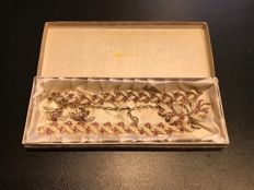 very rare vintage boxed in rare original Jewelcraft box set pink crystal and white enamelled brooch necklace earrings bracelet