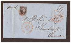 United States 1848 - letter from New York to Brockville (Canada) with stamp Scott #2