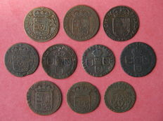 Spanish Netherlands - lot of 10 Liards, period 1690-1713