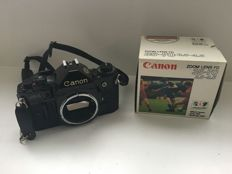 Canon A1 with a Canon FDn 35-70 3.5-4.5 lens in original packaging
