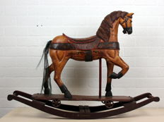 Polychrome painted wooden rocking horse - Netherlands - 20th century