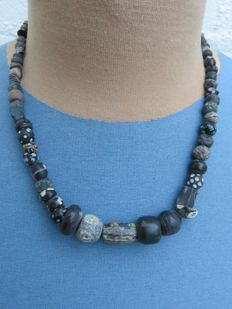 Archaeological beaded necklace with glass and stone beads - 39 cm