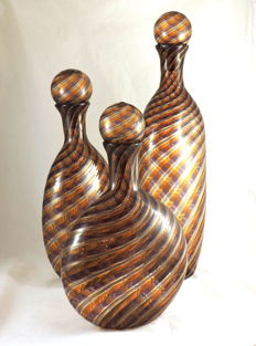 MuMa Italy - Set of three bottles with filigrana and aventurine stoppers