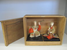 A fine pair of ningyo doll of Jo and Uba from the legend of the Two Pines - with their box - Japan - Late 19th/early 20th century