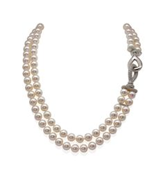 Top Quality Double Row Akoya Pearl Necklace Featuring a Magnificent 18K White Gold Clasp Set with 3.08Ct VS Diamonds - Authenticity Certificate Included