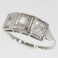 Vintage geometrical unisex Art Deco ring, anno 1920