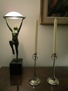 A pair of silver Art Nouveau candlesticks