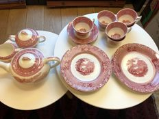 A.J. Wilkinson, Royal Staffordshire Pottery England Jenny Lind 1795 Pink coffee set