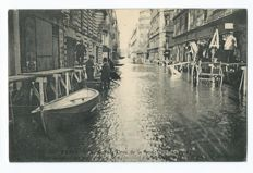 Lot with 50 x postcards about Paris, flood of the Seine on January 30, 1910, original postcard