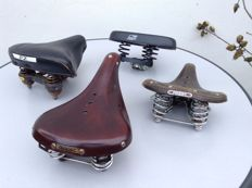 4 original bicycle saddles, leather and plastic, 2 x Lepper, Brooks and Gazelle, 1960-1990