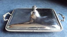 Large serving plate with lid and handles, silver plated ca. 1900, by Rupert Favell